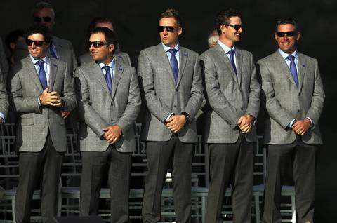 (Left to right) Europe's Rory McIlroy, Francesco Molinari, Ian Poulter, Justin Rose and Lee Westwood during the Ryder Cup Opening Ceremonies at the Medinah Country Club in Medinah.