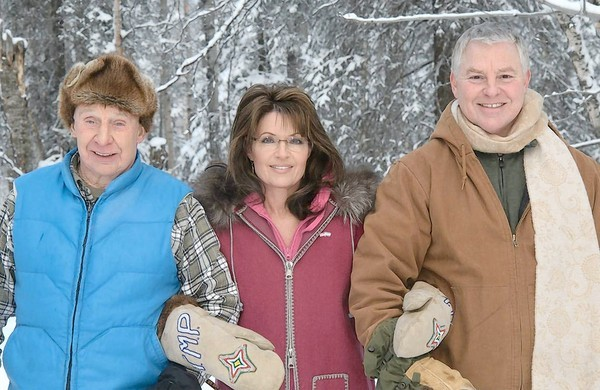 From left, Chuck Heath Sr., Sarah Palin and Chuck Heath Jr.
