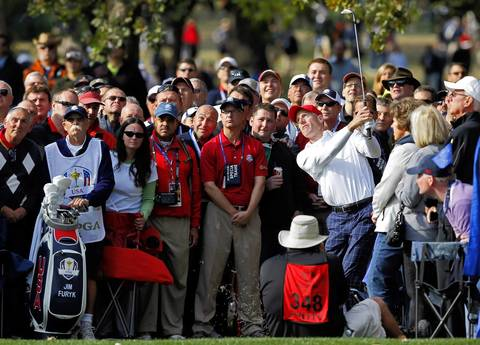 USA Ryder Cup Team member Jim Furyk hits a ball on the eleventh hole at Medinah Country Club on the first day of competition.