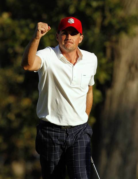 USA Ryder Cup Team member Keegan Bradley clinches his fist on the sixteenth hole on the afternoon fourball session on the first day of competition at the 2012 Ryder Cup taking place at the Medinah Country Club in Medinah.