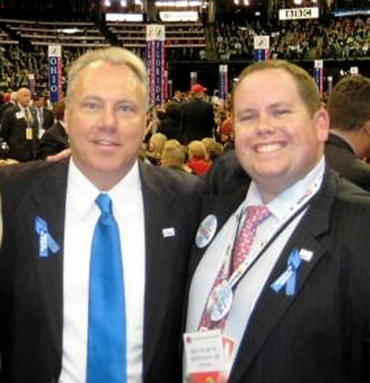 Republican Party of Florida Chairman Jim Greer, left, and Delmar Johnson, Executive Director, pose at the Republican National Convention 2008.