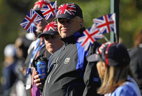 Team Europe fans enjoy the morning foursomes.