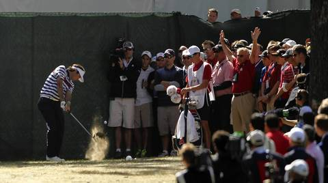 Bubba Watson has trouble along the 4th fairway during a Ryder Cup singles match against Europe's Luke Donald.
