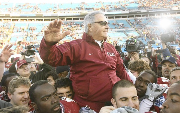 FSU Head Coach Bobby Bowden is carried triumphantly on the shoulders of his players after beating West Virginia in the Gator Bowl at Jacksonville Municipal Stadium on Friday, January 1, 2010. (Stephen M. Dowell/Orlando Sentinel)