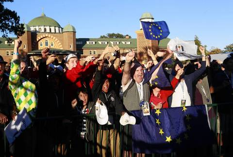 Fans cheer for Team Europe.