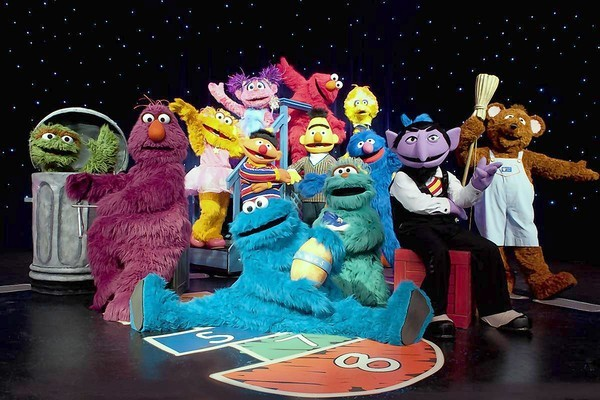 "Stars of the Sesame Street Live show ""Elmo Makes Music"""