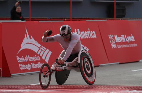 Josh Cassidy, of Canada, wins the men's wheelchair division of the 2012 Bank of America Chicago Marathon.