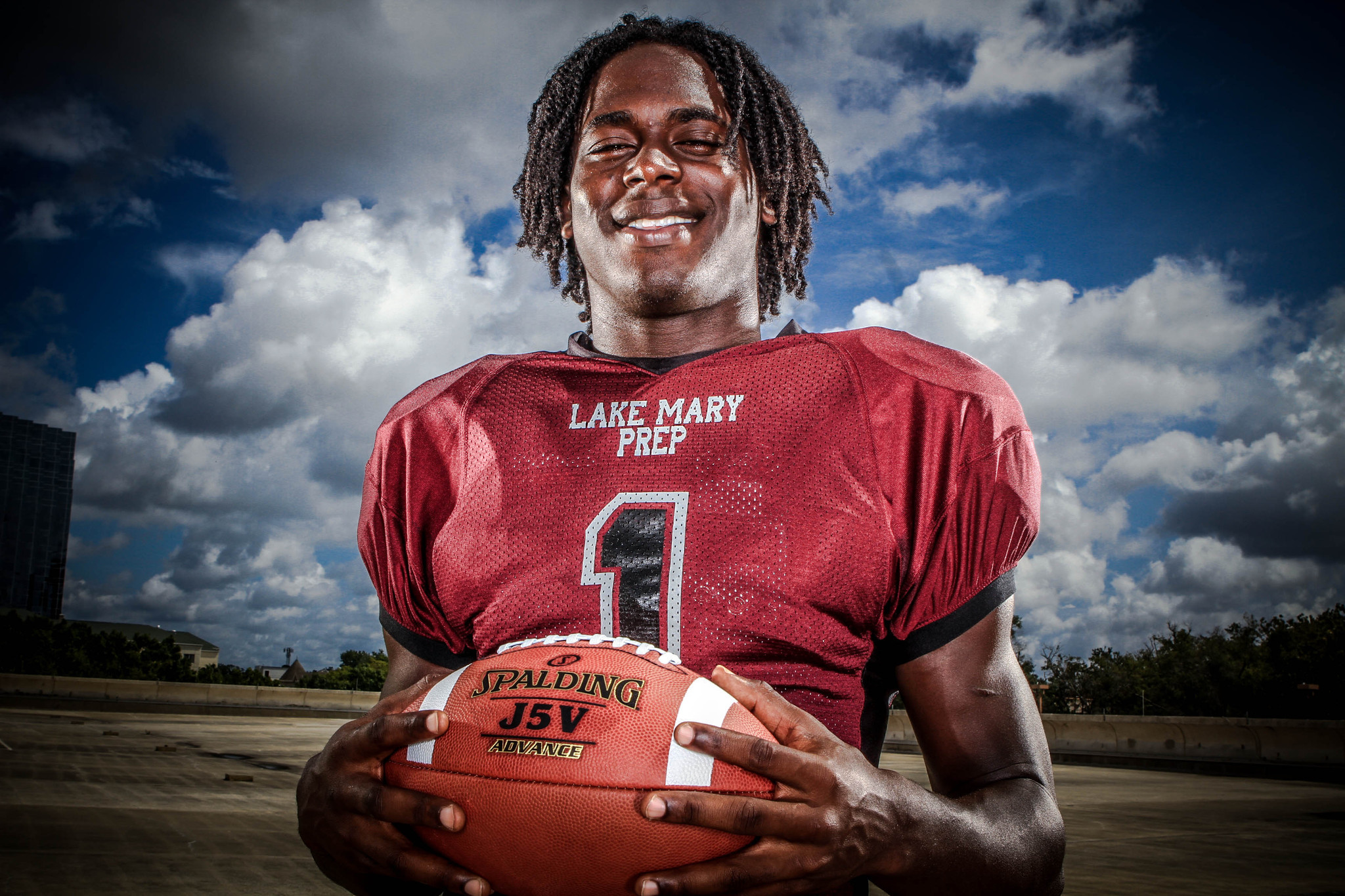 Jeremiah Sams of Lake Mary Prep High School poses for portraits during the Orlando Sentinel Varsity Media Day in Orlando, Fla. on Saturday, August 18, 2012.