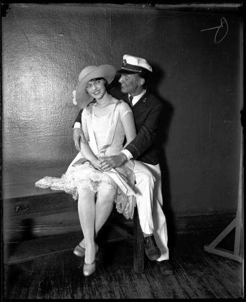 "Marjorie Phillips as ""Nance"" and George Bastian as ""Joe Stout"" at J.H. Bowen School. Janurary 11, 1928."
