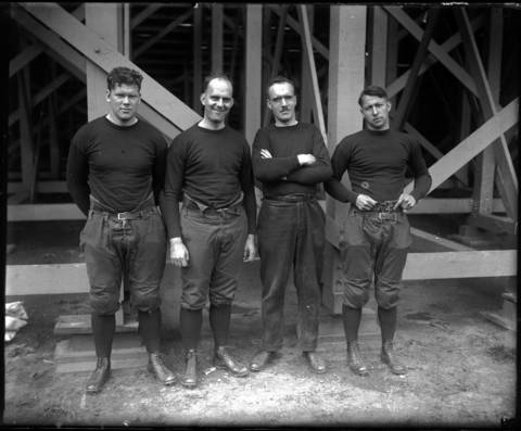 University of Chicago assistant coaches: Colville Jackson, Nelson Norgren, Paine (only last name ID) and Jerome Fisher, September 17, 1921.