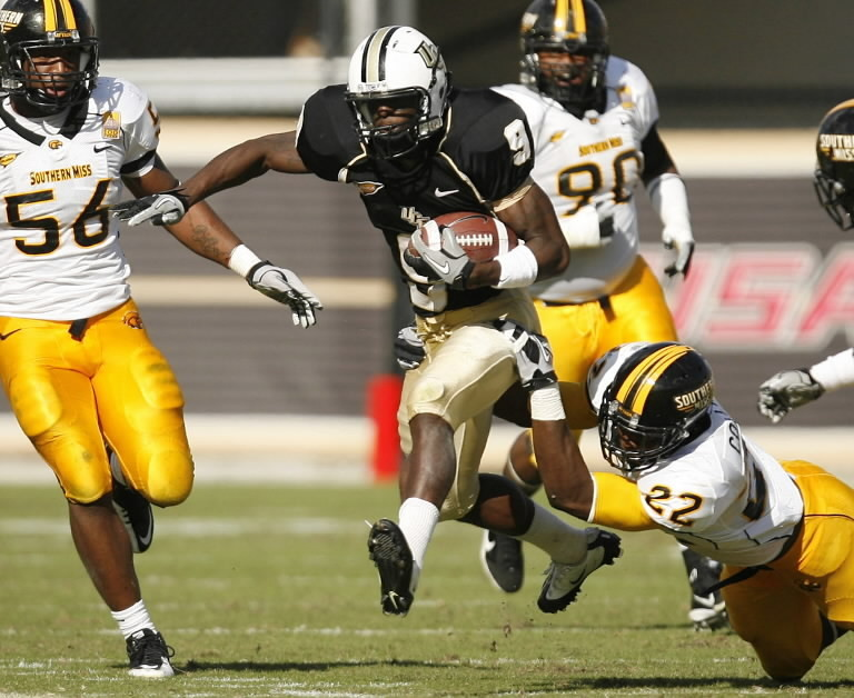 Jamie Collins (22) recorded 6.5 sacks for 45 yards as a junior in 2011 as Southern Miss finished 12-2. The Knights will take on the reigning Conference USA champions in Orlando in 2012.