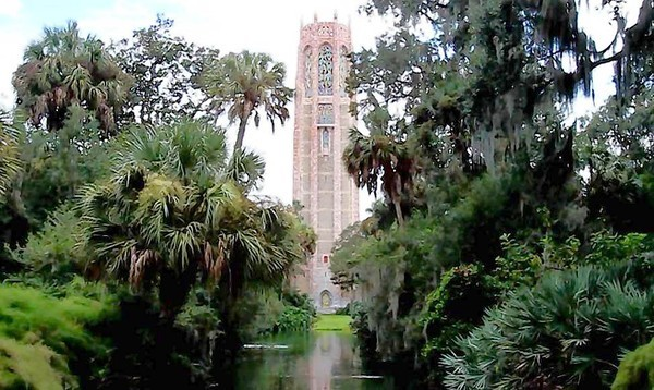 Bok Tower -- The Singing Tower in Lake Wales has been one of Floridas original stops for visitors since 1929, when Edward Bok, publisher of the Ladies Home Journal, built one of the largest bell carillons in the world. The attraction is called Bok Tower Gardens, but the actual tower is the Singing Tower that houses the carillon. Opened in 1929, the tower design was inspired by European gothic churches and the art deco movement, but it also incorporates native coquina rock and Georgia pink marble. The tower and the surrounding gardens reflect the natural world of Florida.