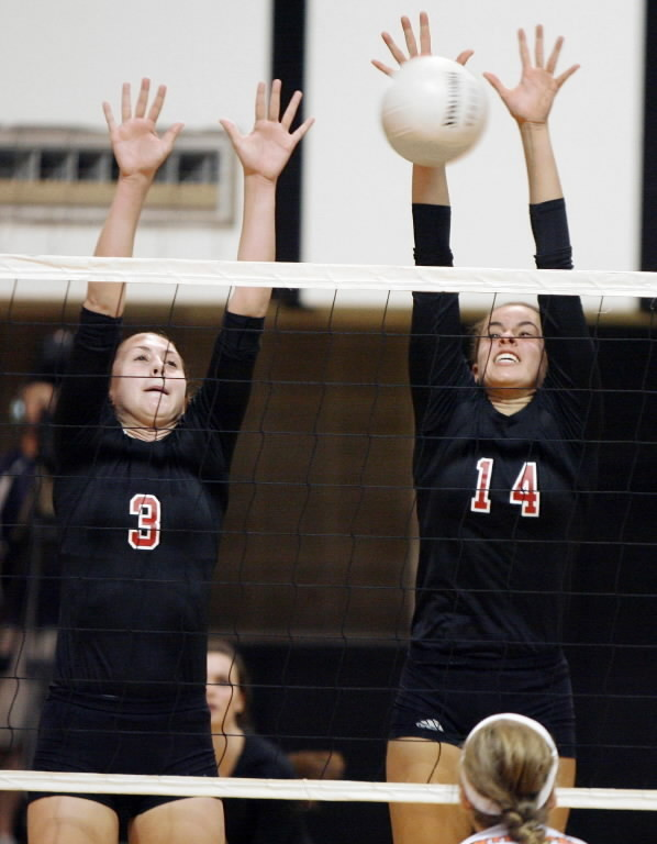 Emma Turner, left, and Vanessa Freire helped Lake Highland, shown here during a game against Winter Park, to a 3-0 win over Orange City University on Thursday.  (Stephen M. Dowell/Orlando Sentinel)