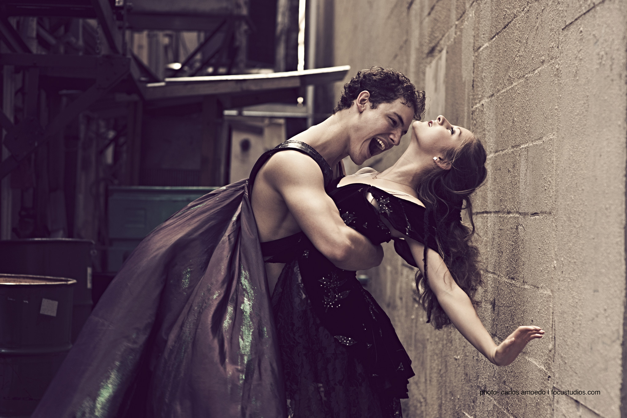 "David Kiyak and Melissa Gelfin start out innocent in Orlando Ballet's ""Vampire's Ball."""