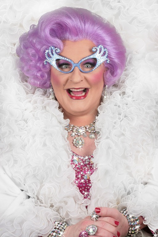 Michael L. Walters performs as Dame Edna Everedge.