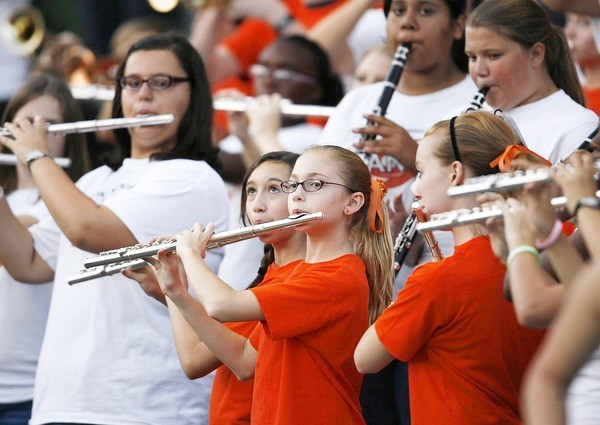 The Mount Dora band plays during the Eustis High School at Mount Dora High School football game on Friday, October 12, 2012.  (Stephen M. Dowell/Orlando Sentinel)