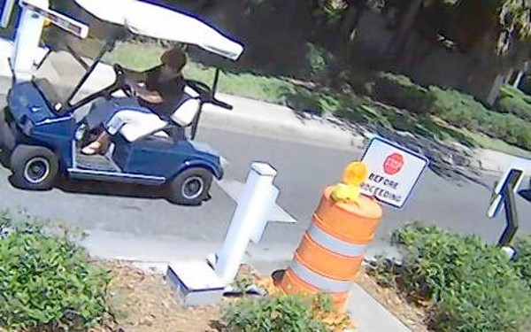 Golf cart at The Villages strikes a security arm. Villages government installed cameras to try and identify people who hit the security arms.