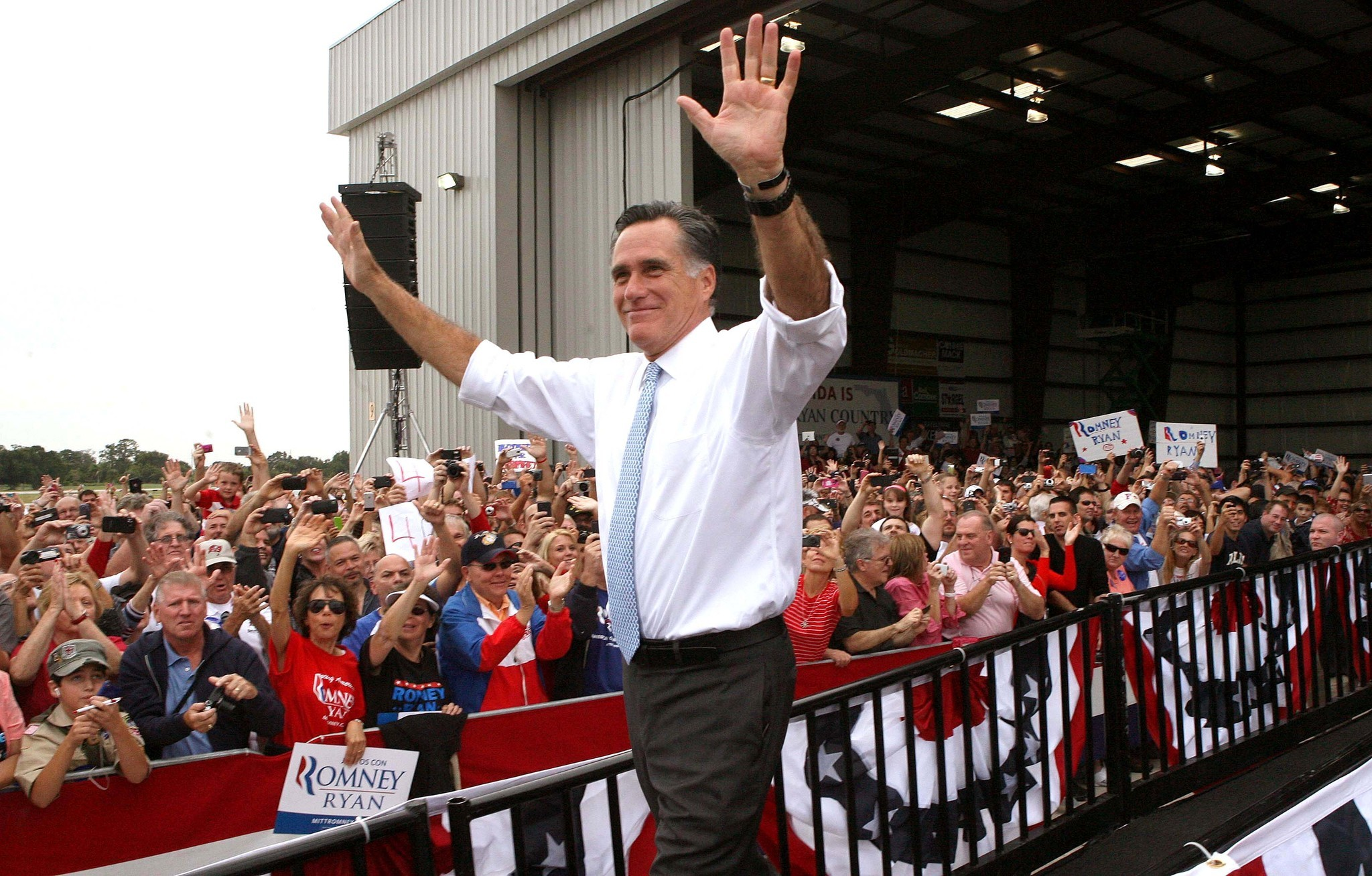 Mitt Romney rallies supporters at the Kissimmee airport, in Kissimmee, Fla. Saturday, October 27, 2012.