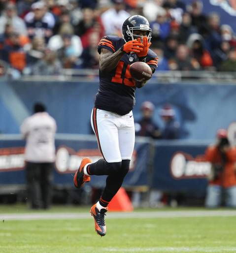 Wide receiver Brandon Marshall misses a catch during the second quarter.