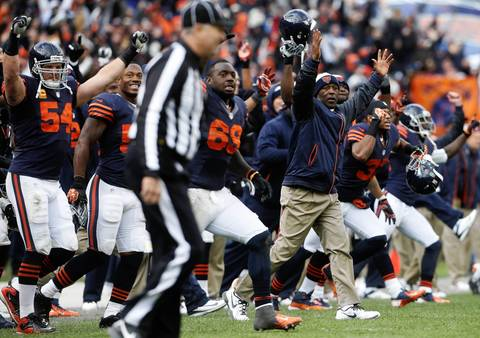 The Bears bench celebrates as Robbie Gould hits a last-second field goal to defeat the Panthers 23-22.