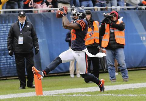 Cornerback Tim Jennings celebrates his interception for a touchdown in the 4th quarter.