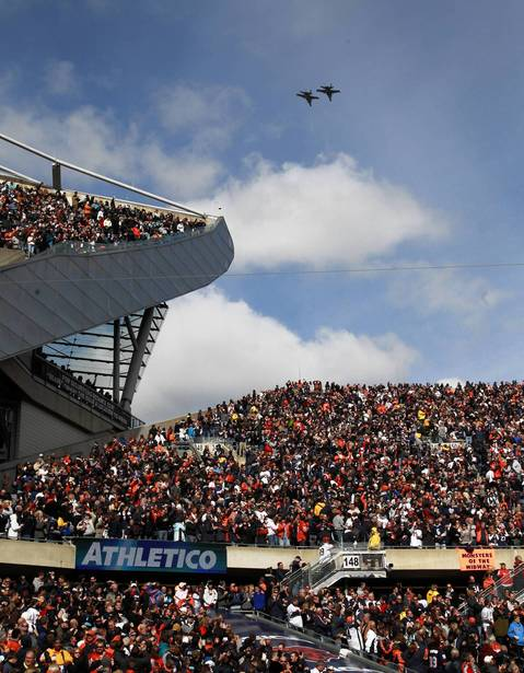 Fly over before the game at Soldier Field.