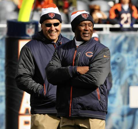 Dave Toub with Lovie Smith before the game.