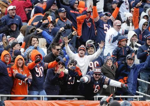 Bears fans celebrate as Tim Jennings returns an interception for a touchdown.