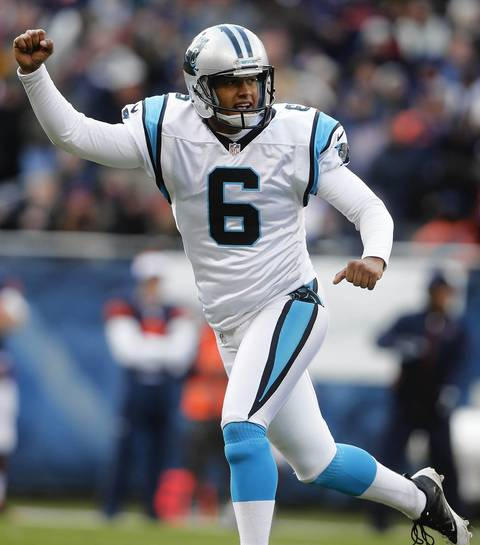 Panthers kicker Justin Medlock celebrates the then go-ahead field goal against the Bears in the fourth quarter.