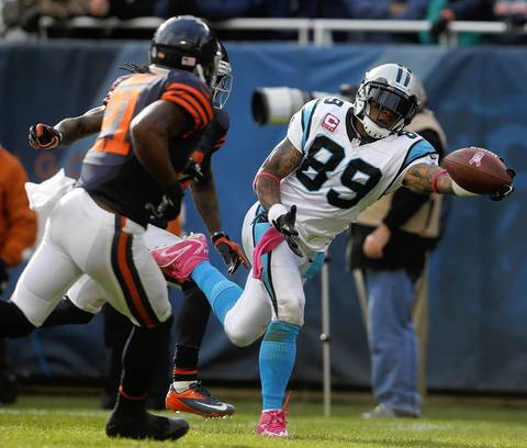 Panthers wide receiver Steve Smith stretches out but can't pull in a pass in the end zone.