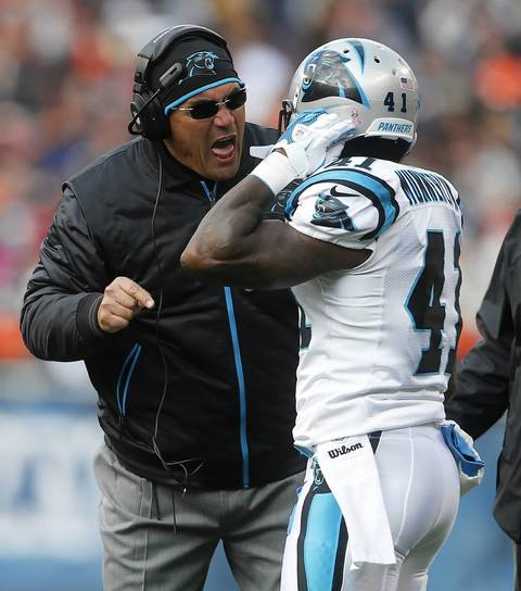 Panthers coach Ron Rivera yells at Captain Munnerlyn after his team had a miscommunication on special teams.