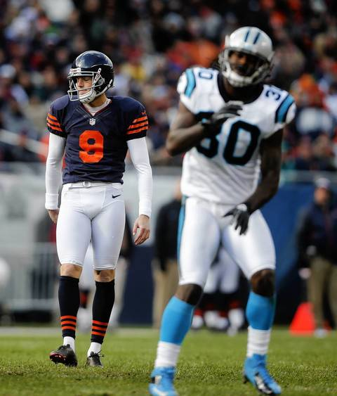 Panthers strong safety Charles Godfrey celebrates as Bears kicker Robbie Gould misses a field goal in the fourth quarter.