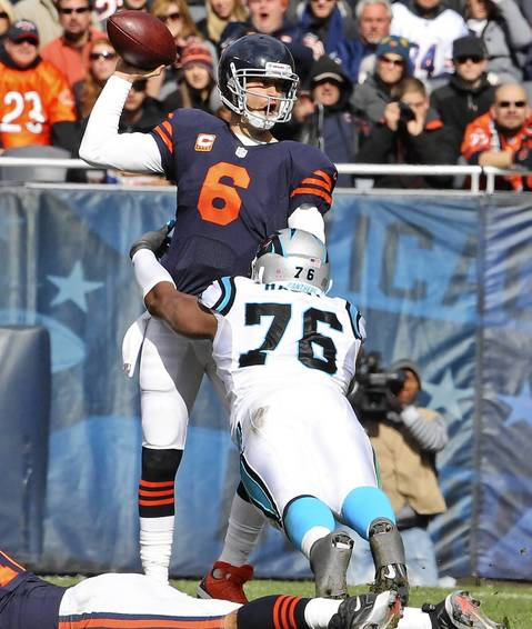 Quarterback Jay Cutler is sacked by Panthers defensive end Greg Hardy during the second quarter.