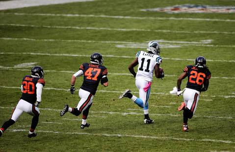 Panthers wide receiver Brandon LaFell gains large yardage on a pass play in the first quarter.