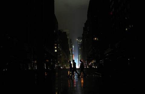 Power outage seen on Monday night in Manhattan.
