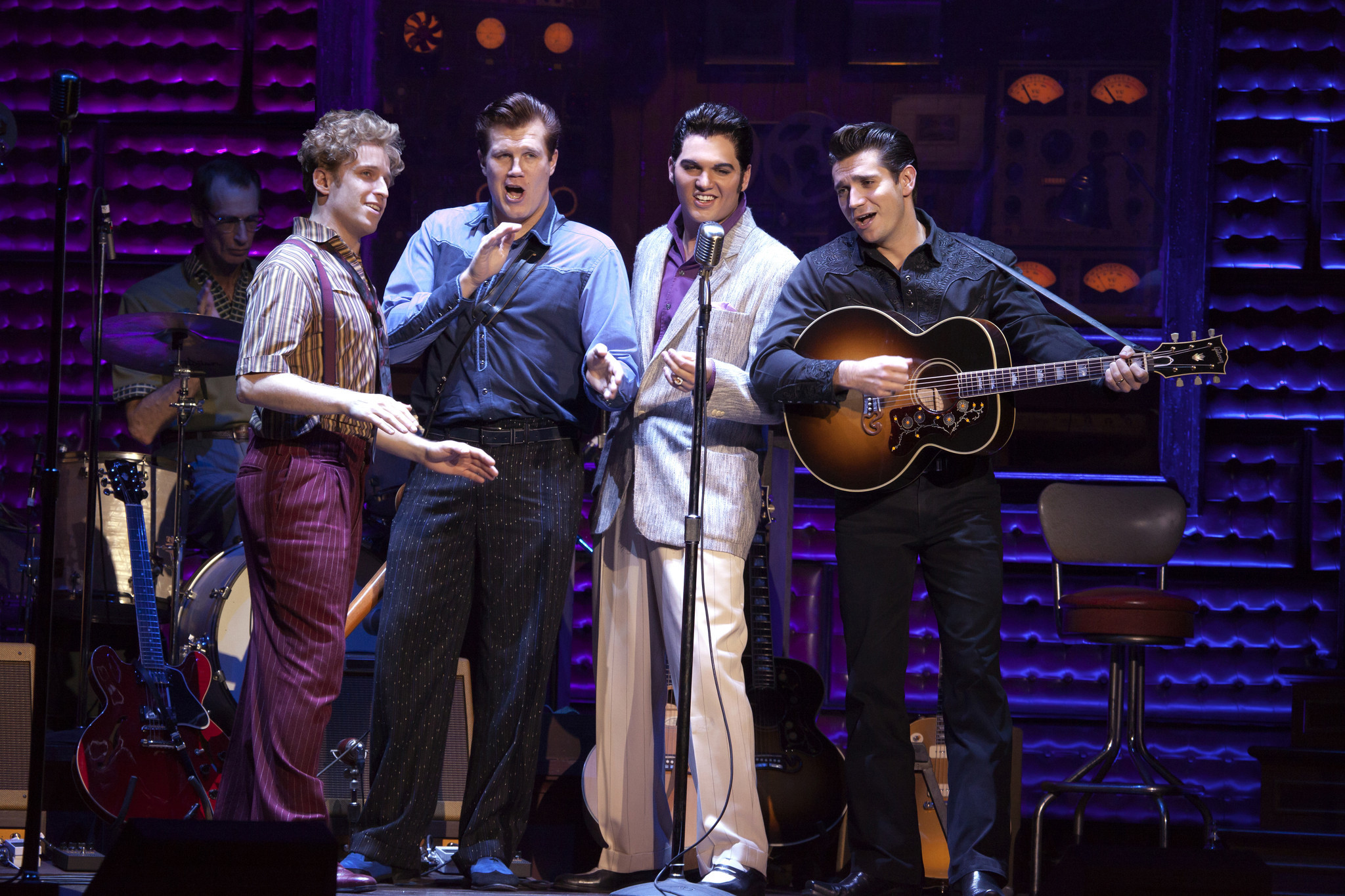 "Martin Kaye, Lee Ferris, Cody Slaughter and Scott Moreau star in ""Million Dollar Quartet."""