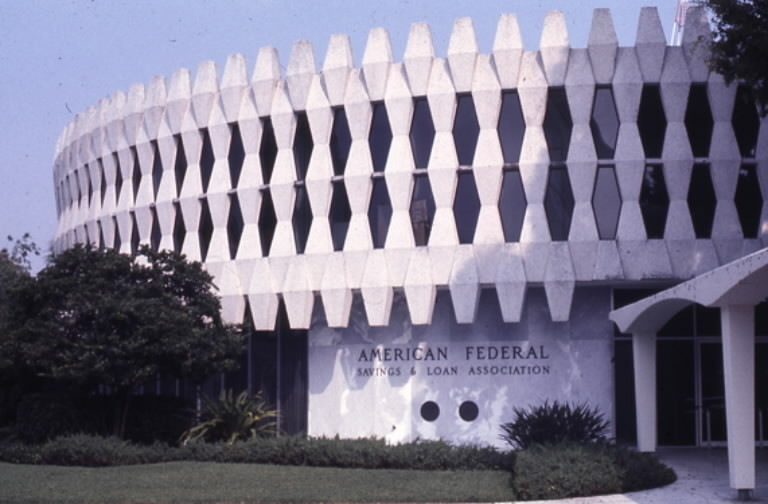 "Orlando's downtown ""Round Building"" features distinctive latticework."