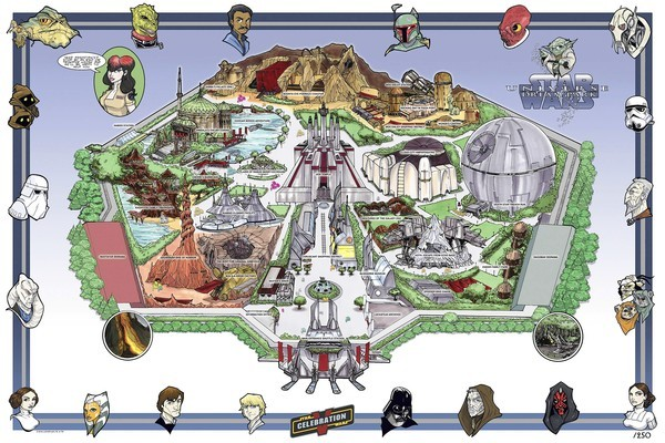Tom Hodges, a California artist, created this fictional rendering of a Star Wars theme park for Star Wars Celebration V in Orlando in 2010.  He based the fake theme park map on a 1966 map of Disneyland.