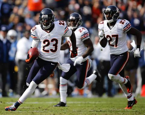 Devin Hester on a long punt return in the first quarter.