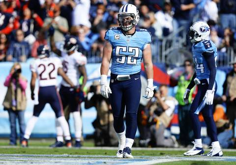 Titans middle linebacker Colin McCarthy is dejected after a Brandon Marshall touchdown catch in the first quarter at LP Field.