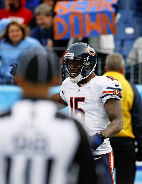 Brandon Marshall is all smiles after catching a touchdown pass in the fourth quarter.