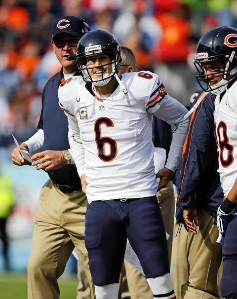 Jay Cutler smiles after a touchdown pass in the first quarter.