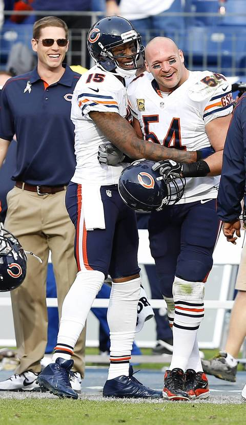Brandon Marshall and Brian Urlacher are all smiles following a touchdown catch by Marshall in the fourth quarter.