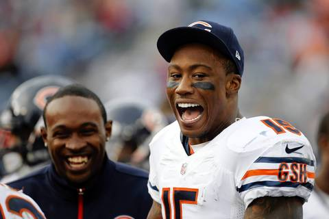 Brandon Marshall enjoys himself on the bench in the fourth quarter.