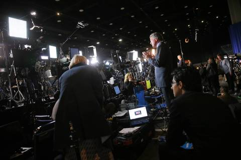 Journalists set up at McCormick Place in Chicago as preparations are made for the Obama for America election night watch party.