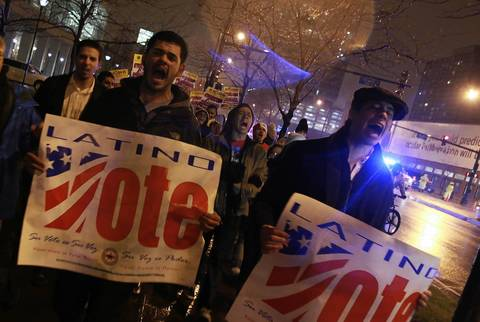The Illinois Coalition for Immigrant and Refugee Rights organizes a march and rally that ended outside of McCormick Place in Chicago, where President Obama is holding his election night party.
