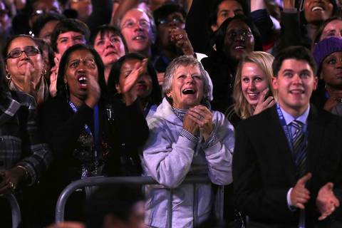 President Barack Obama's supporters watch results at election night viewing party at McCormick Place in Chicago.