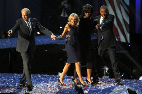 Vice President Joe Biden, his wife Jill Biden, first lady Michelle Obama, and President Barack Obama acknowledge the crowd in McCormick Place as the celebrate their victory in the 2012 presidential election, in Chicago.