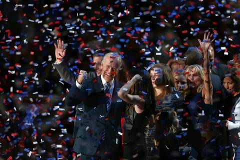 Vice president Joe Biden celebrates after Barack Obama delivered his victory speech at McCormick Place in Chicago. Obama was declared the winner of the 2012 presidential election.