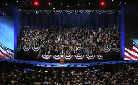 President Barack Obama makes his re-election speech at a McCormick Place rally in Chicago.